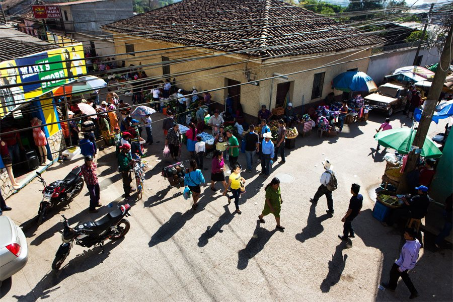 A view of La Esperanza's local market where Emiliano sells some of his products to local traders.