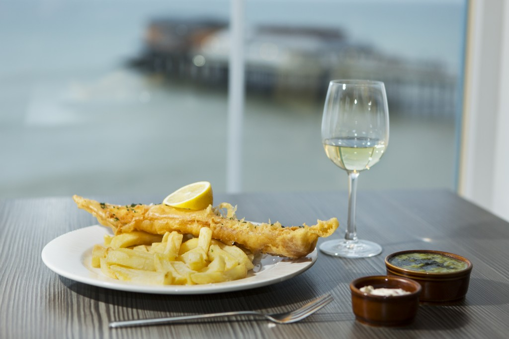 A plate of fish and chips at No1 Cromer in Cromer, Norfolk, England.