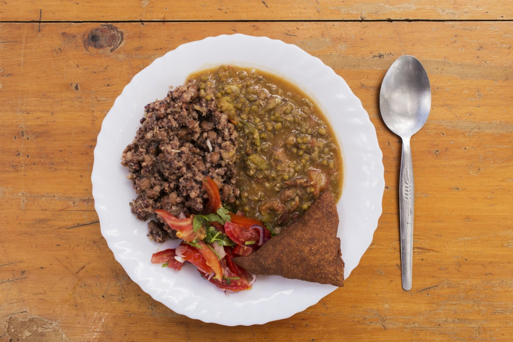 A plate of food with sorghum as the key ingredient, Kiatine Village, Kenya